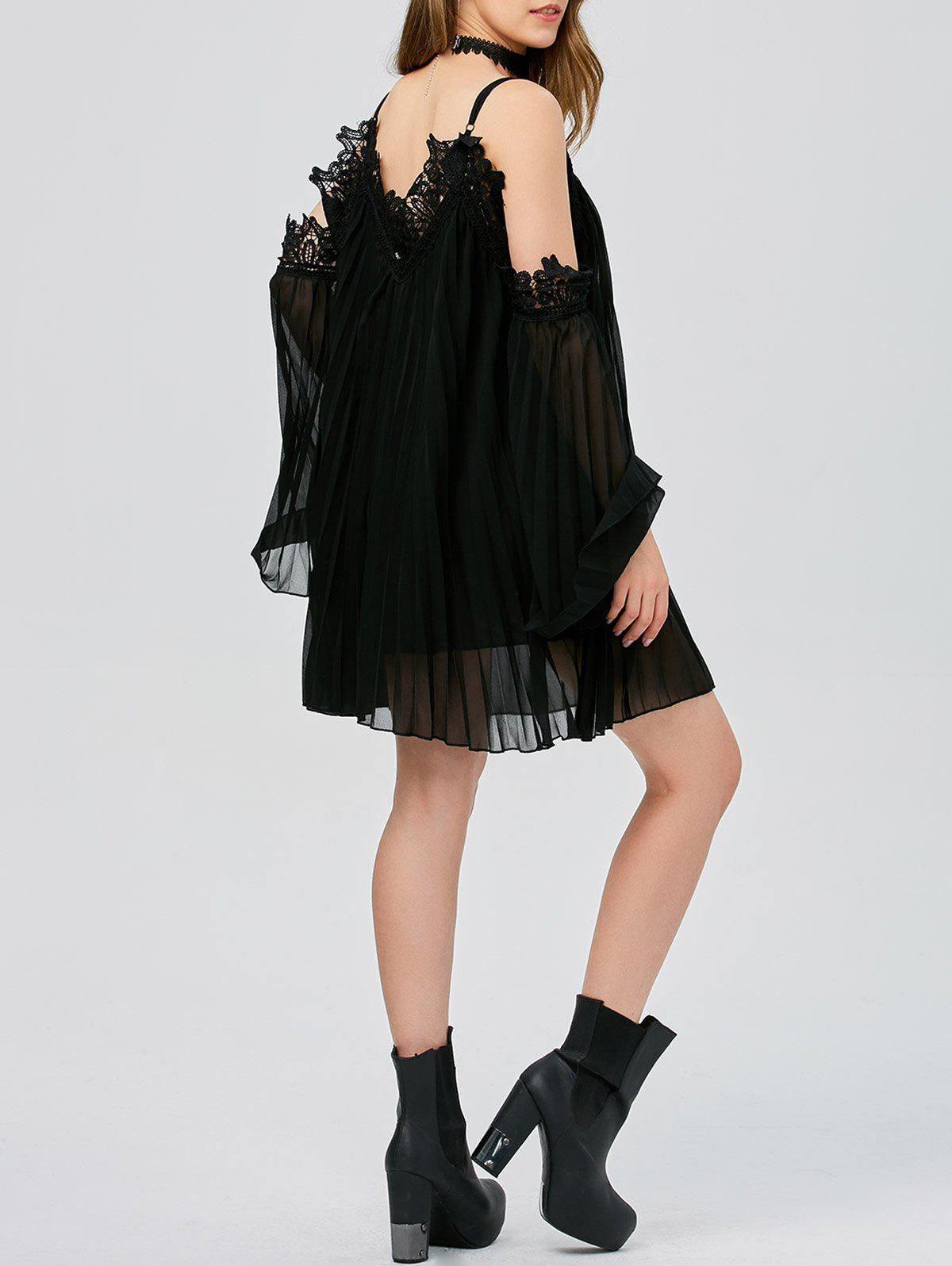 Long Sleeve Pleated Cold Shoulder Cocktail Dress - BLACK XL