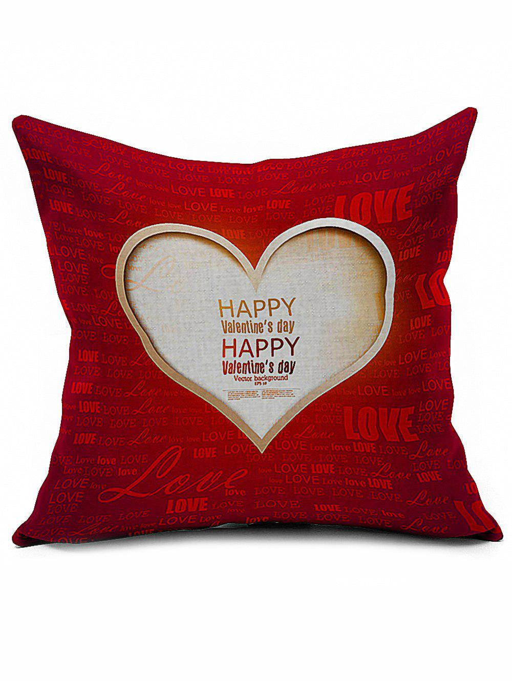 Happy Valentine Love Heart Linen Sofa Throw Pillowcase 8x10ft valentine s day photography pink love heart shape adult portrait backdrop d 7324