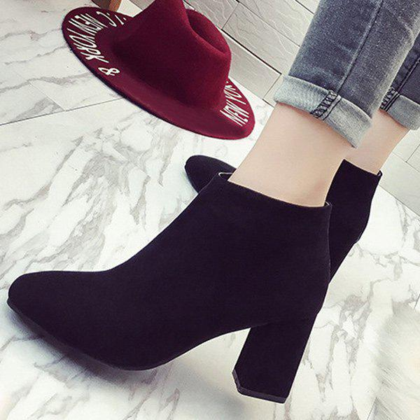 Zipper Suede Square Toe Ankle Boots - BLACK 37
