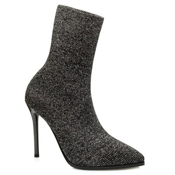 Pointed Toe Ribbed Knitting Short Boots