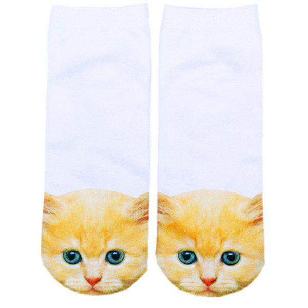 3D Ginger Cat Head Print Crazy Socks - WHITE