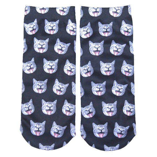 3D Yawn Cat Head Print Crazy Socks