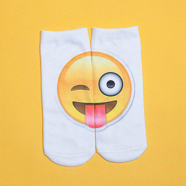 3D Big Naughty Face Print Emoji Socks - WHITE