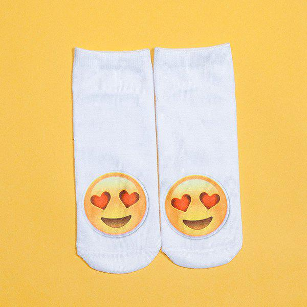 3D Heart Shaped Eyes Face Print Emoji Socks - WHITE
