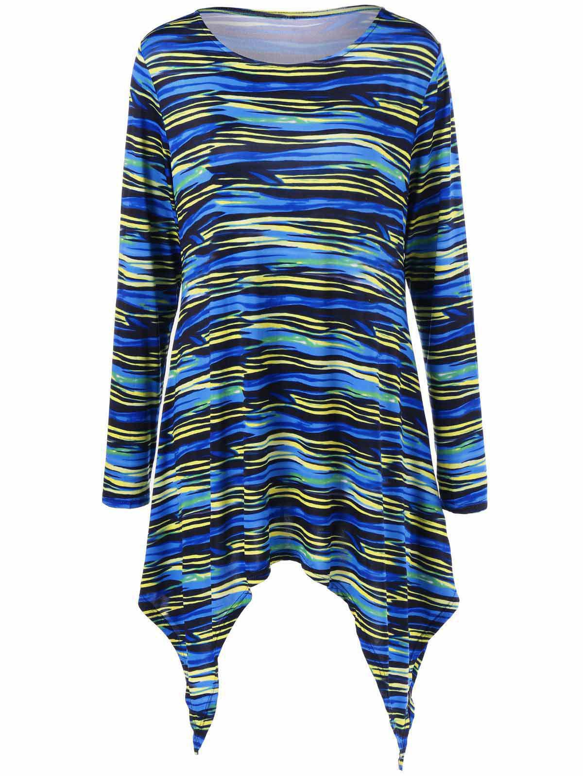 Colorful Striped Plus Size Asymmetric T-Shirt - COLORMIX 4XL