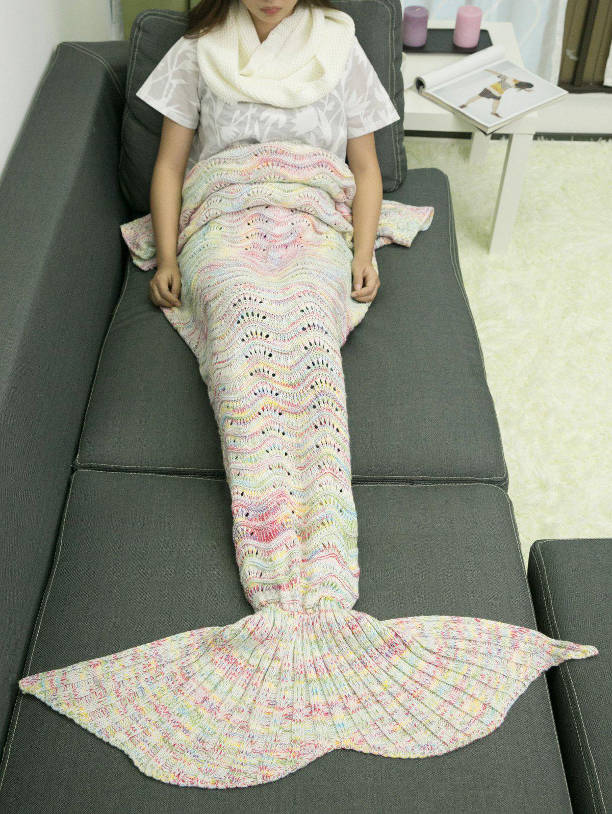 A Set of Warmth Knitting Sofa Mermaid Blanket and NeckerchiefHome<br><br><br>Color: WHITE