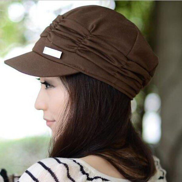 Chic Ruched and Solid Color Design Women's Visor - COFFEE