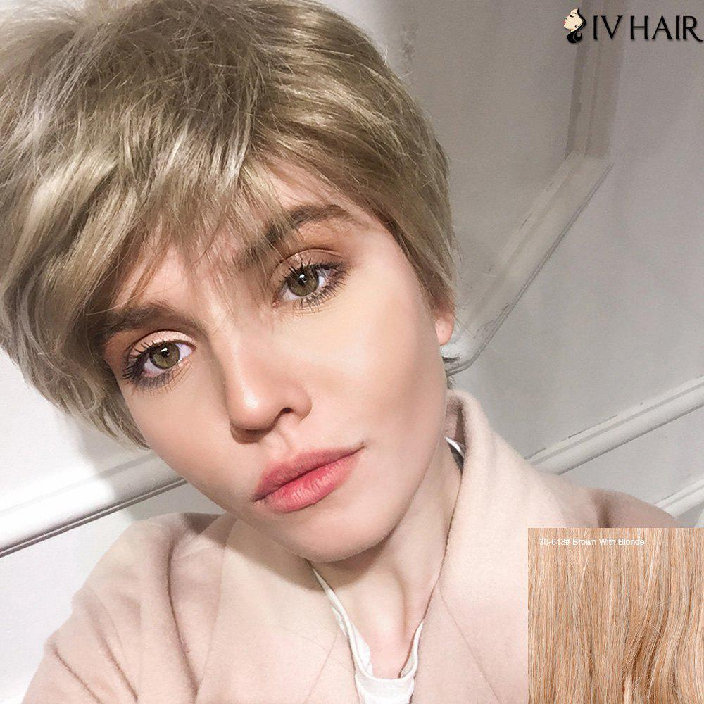 Siv Human Hair Short Side Bang Straight Pixie WigHair<br><br><br>Color: BROWN WITH BLONDE