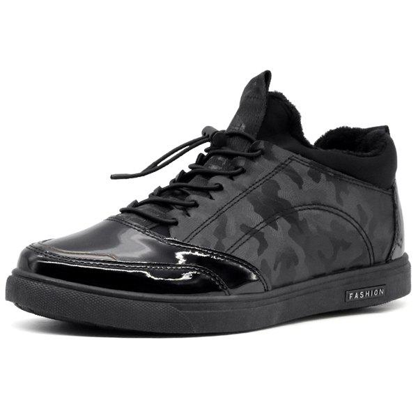 Camouflage Pattern Tie Up Casual Shoes - BLACK 42