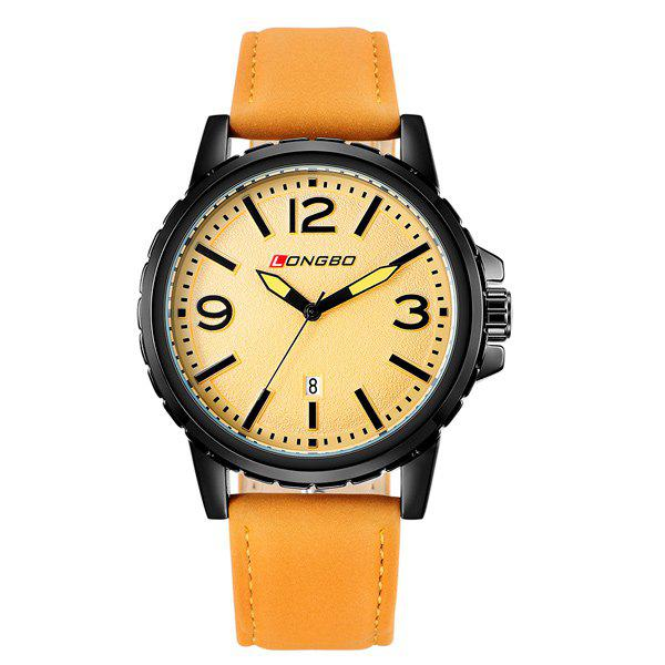 Faux Leather Analog Date Quartz WatchWatches<br><br><br>Color: ORANGE