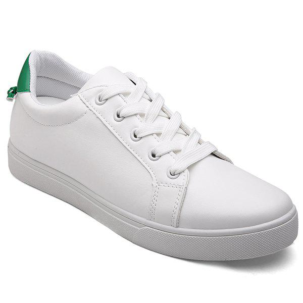 Figure Print Tie Up Casual ShoesShoes<br><br><br>Size: 42<br>Color: WHITE AND GREEN