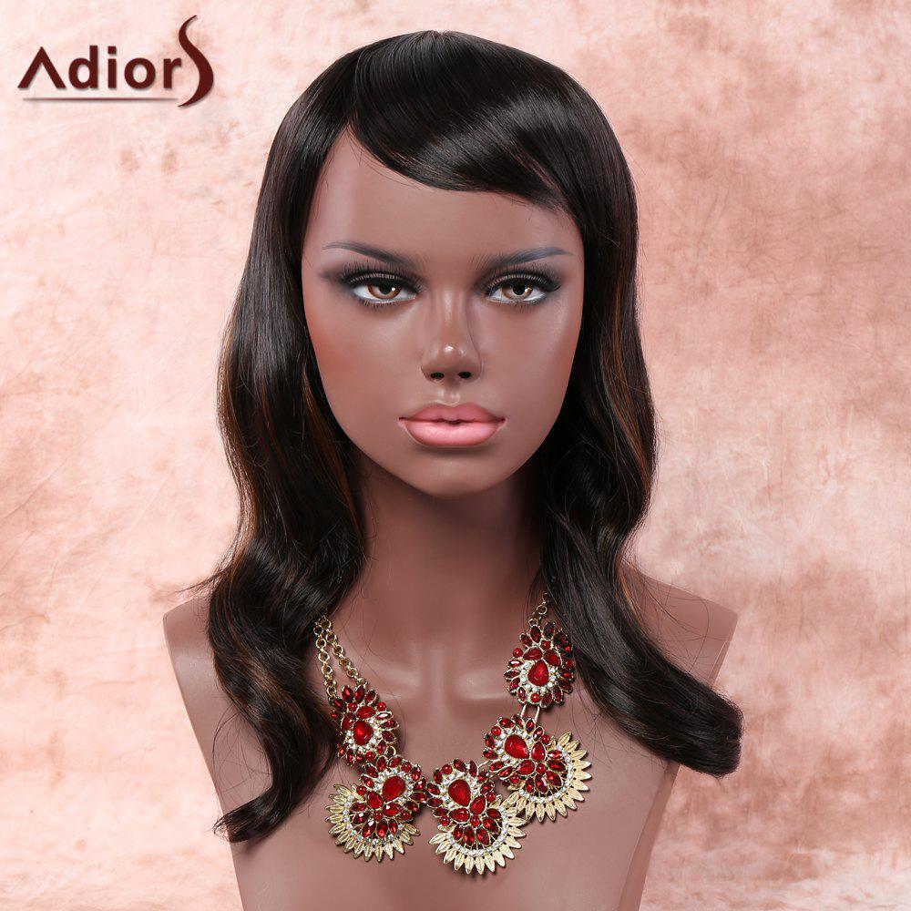 Fluffy Wave Black Brown Mixed Synthetic Charming Long Inclined Bang Capless Adiors Wig For Women цена 2016