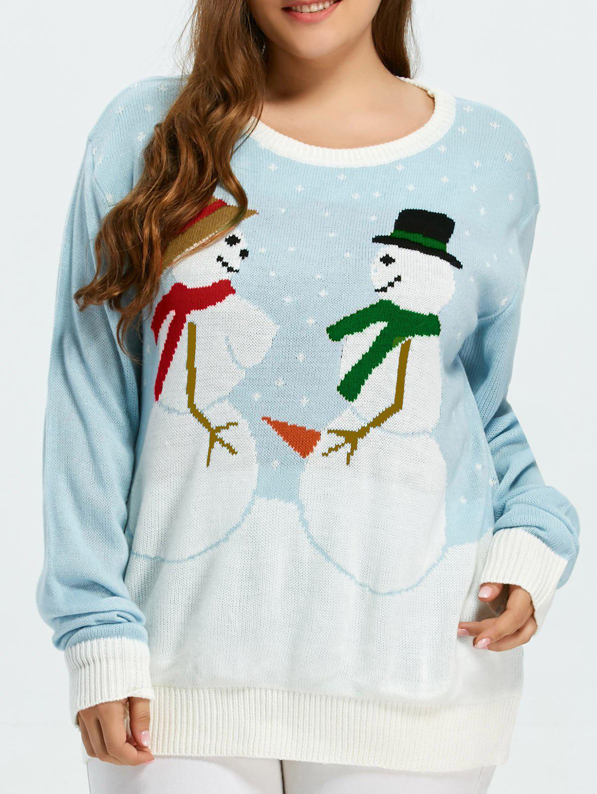 Plus Size Funny Snowman Pattern Christmas Sweater - SKY BLUE XL