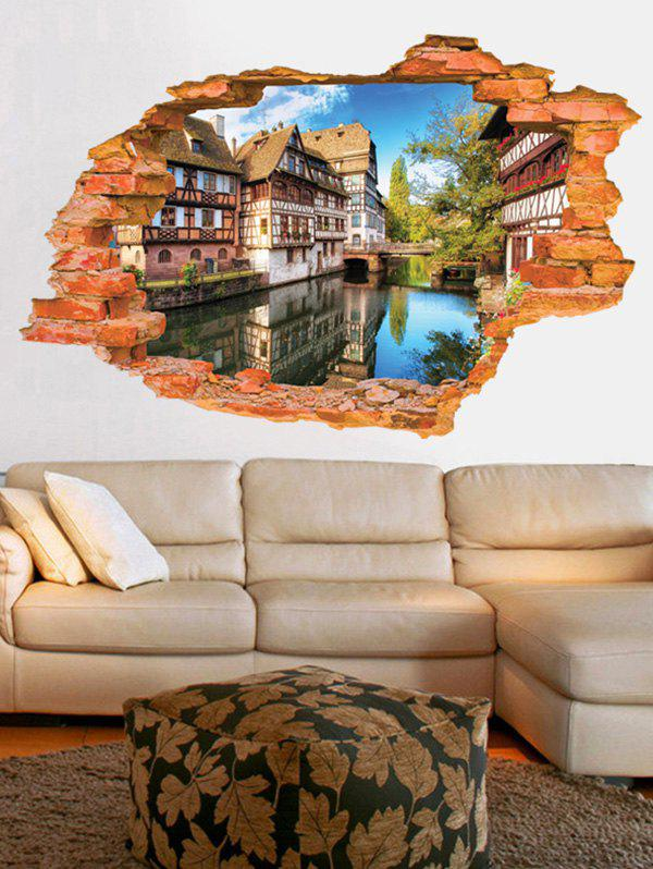 3D Landscape Living Room Removable Wall Stickers 3d sea world living room removable wall stickers