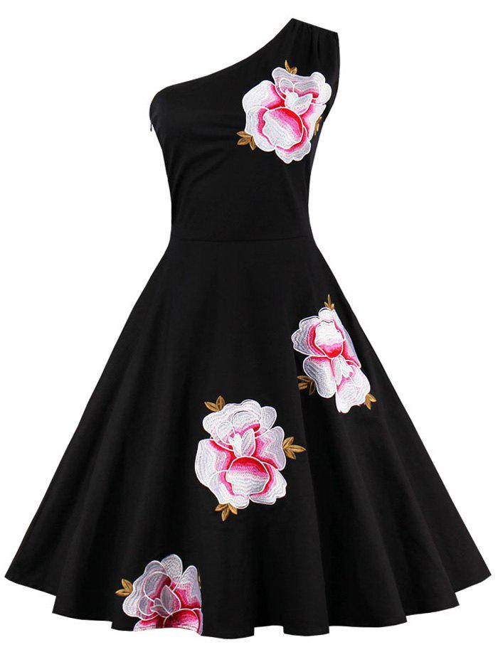 One Shoulder Flare Dress with Embroidery - BLACK M
