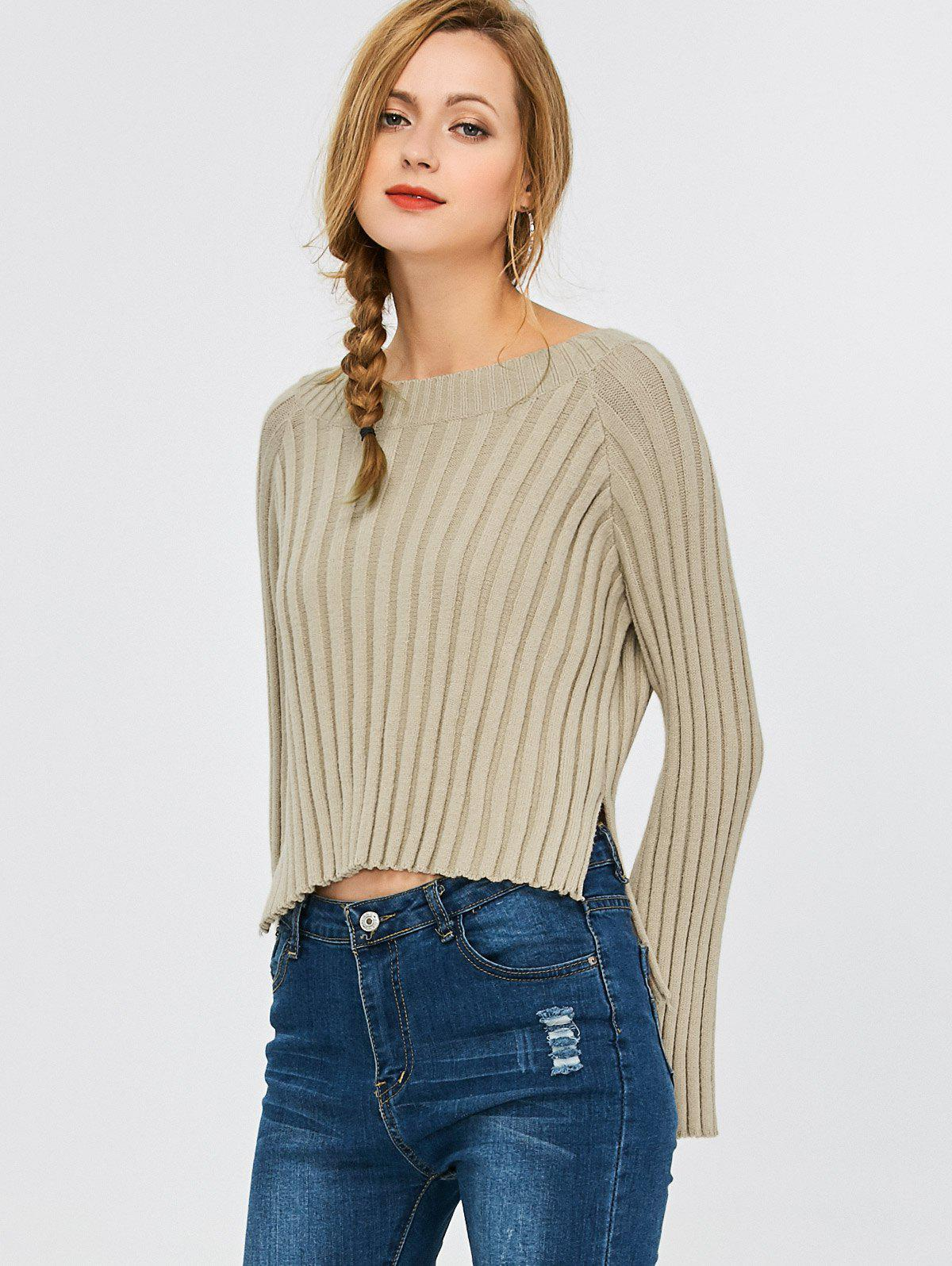 High Low Ribbed Cropped Sweater, GRAY, XL in Sweaters & Cardigans ...