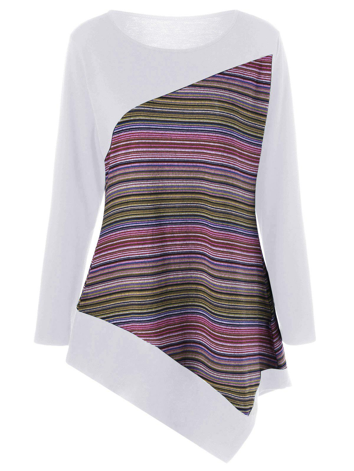 Plus Size Color Block Asymmetrical Tee - WHITE 2XL