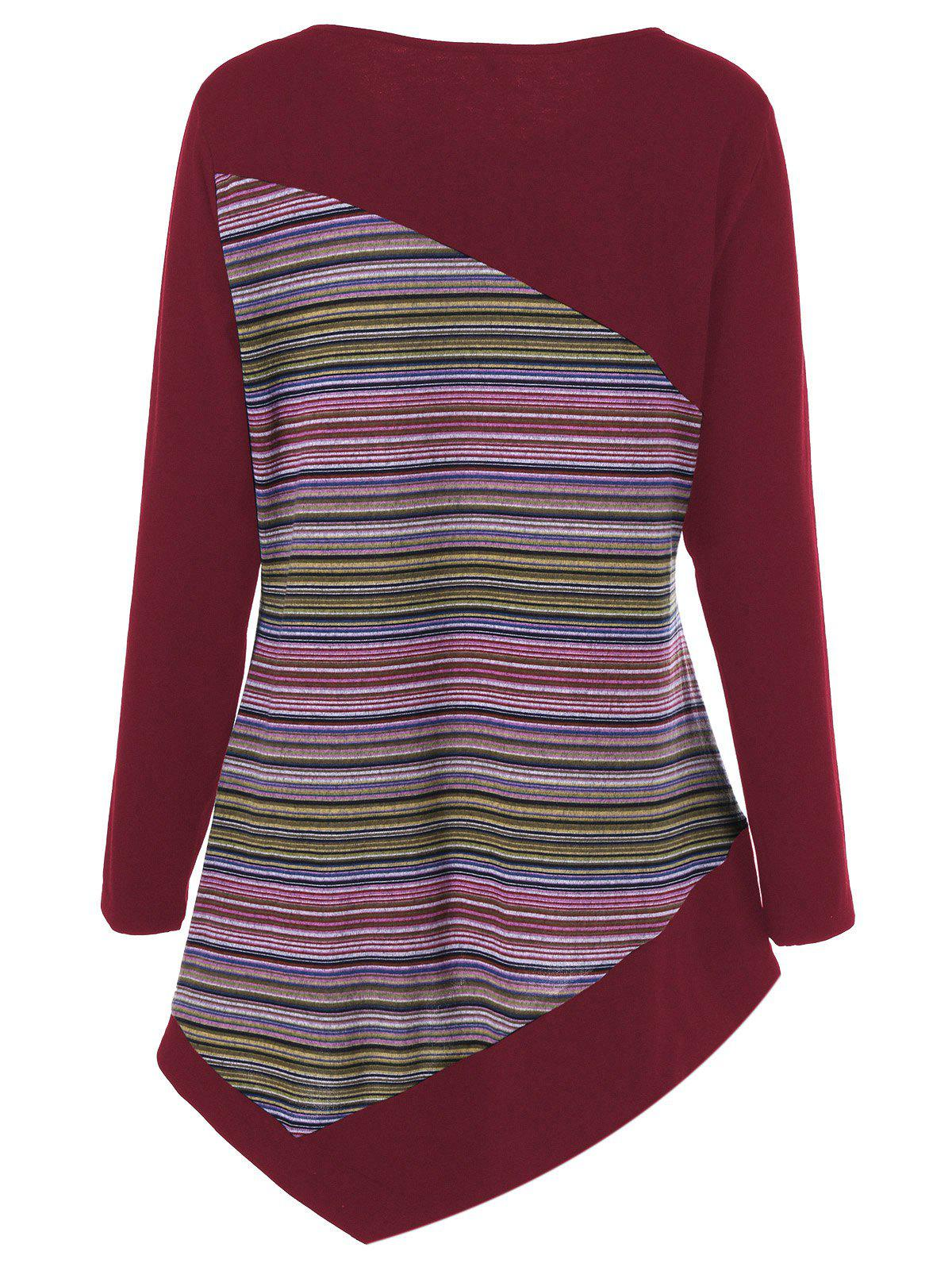 Plus Size Color Block Asymmetrical Tee - DARK RED 2XL