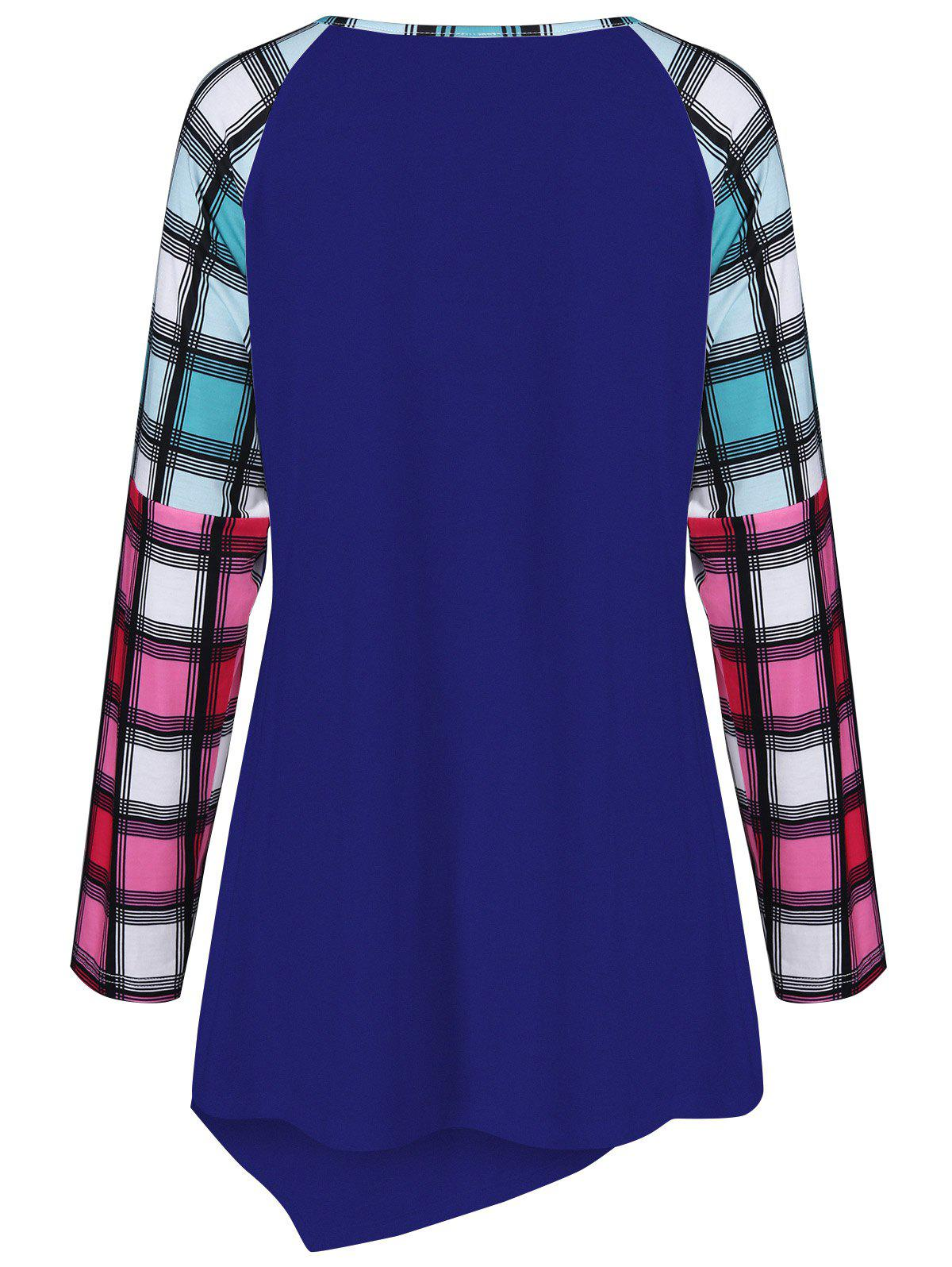Raglan Sleeve Plaid Plus Size Tee - BLUE 4XL