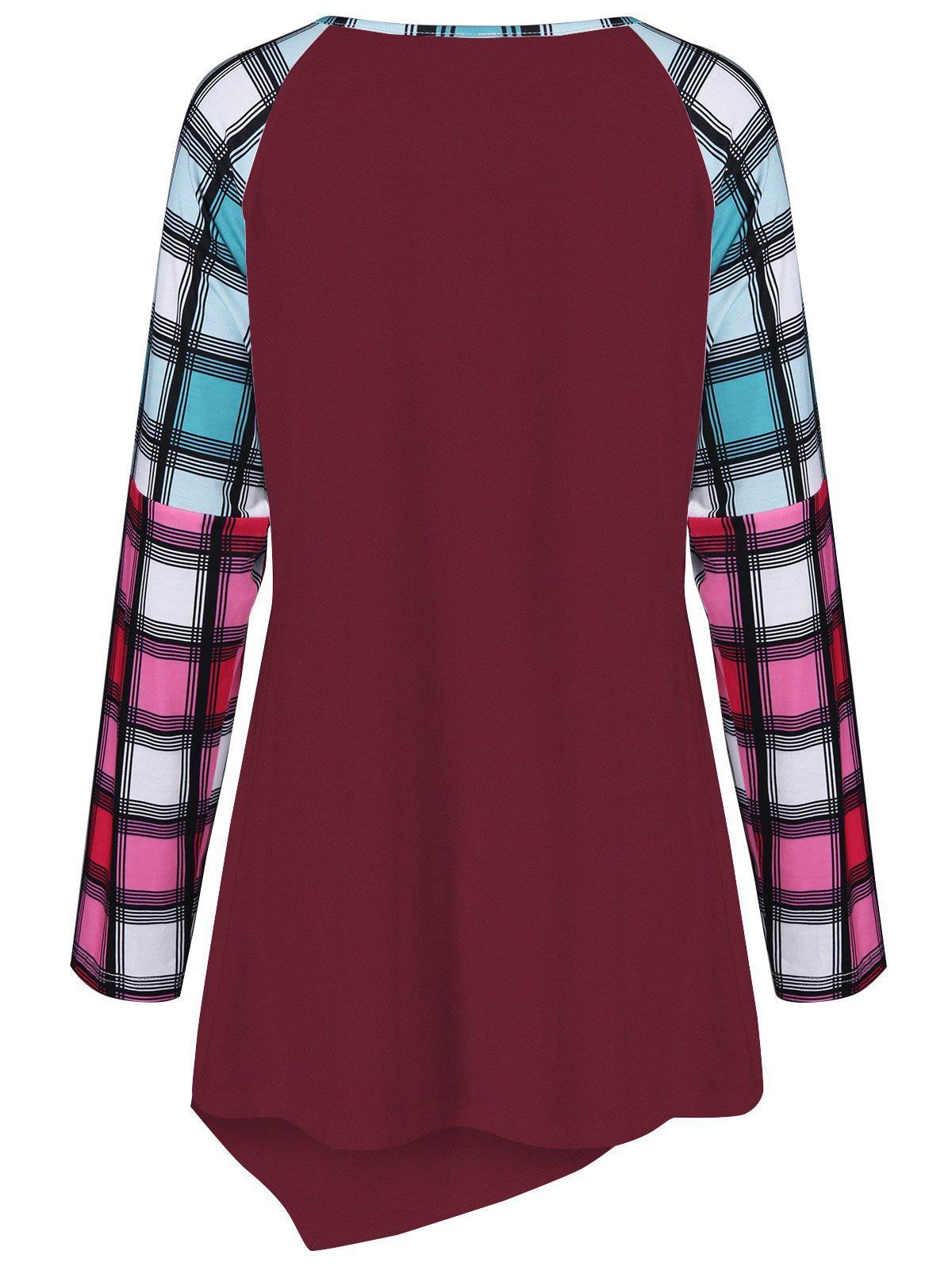 Raglan Sleeve Plaid Plus Size Tee - DEEP RED XL
