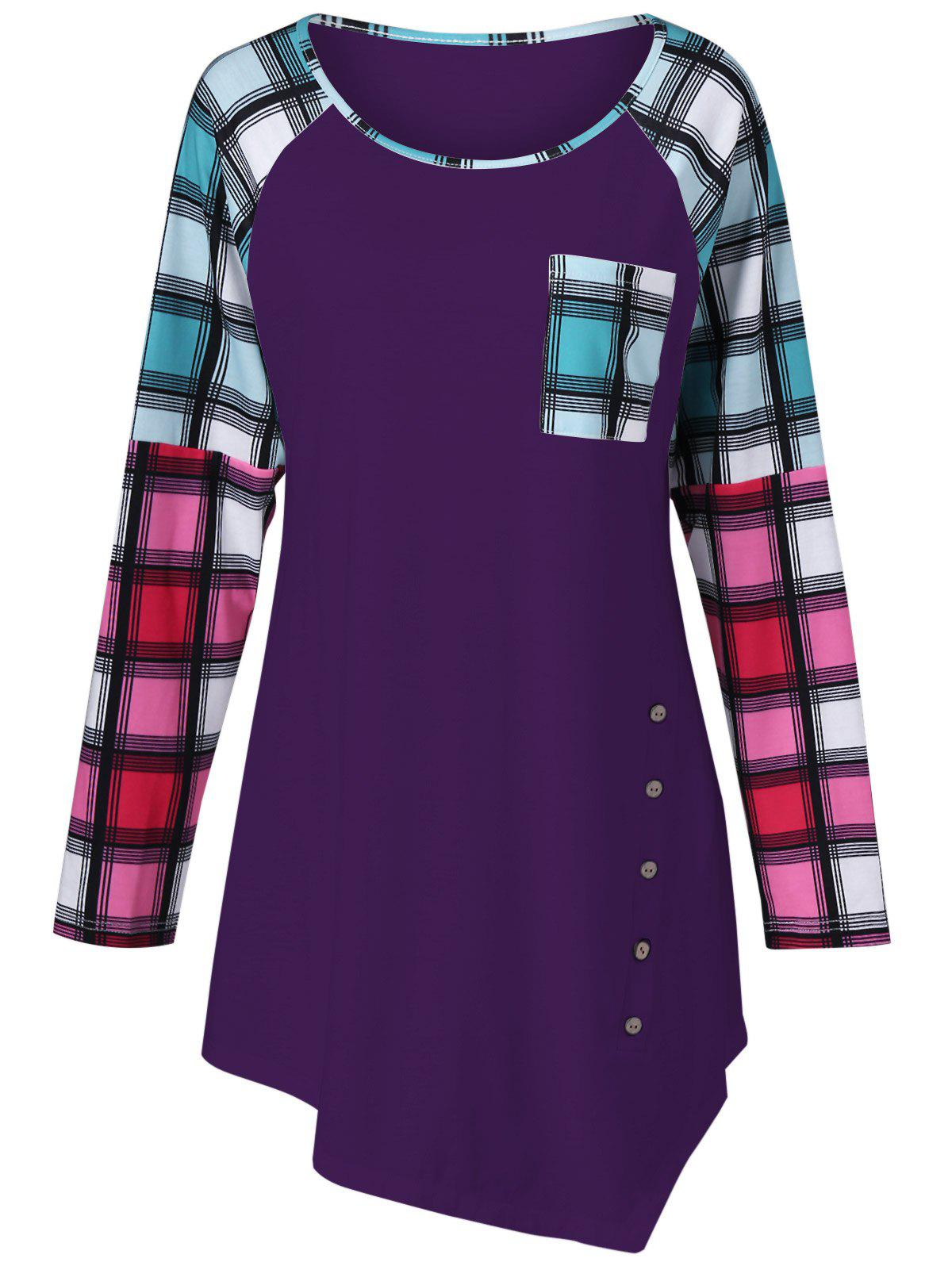 Raglan Sleeve Plaid Plus Size Tee - DEEP PURPLE XL