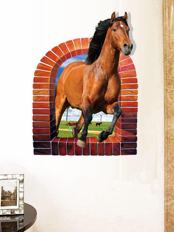 3D Horse Rushing Window Living Room Decoration Wall Stickers 3d horse rushing window living room decoration wall stickers