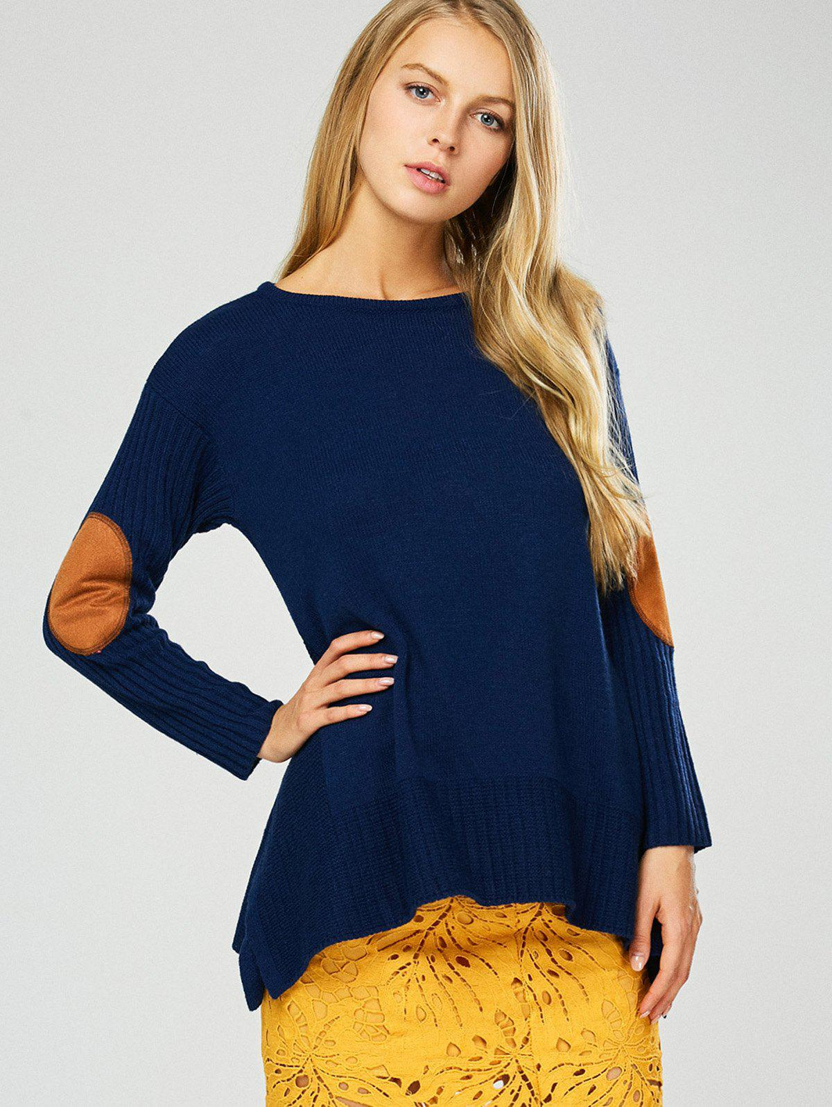 Elbow Patch Asymmetric Pullover Sweater asymmetric pullover sweater