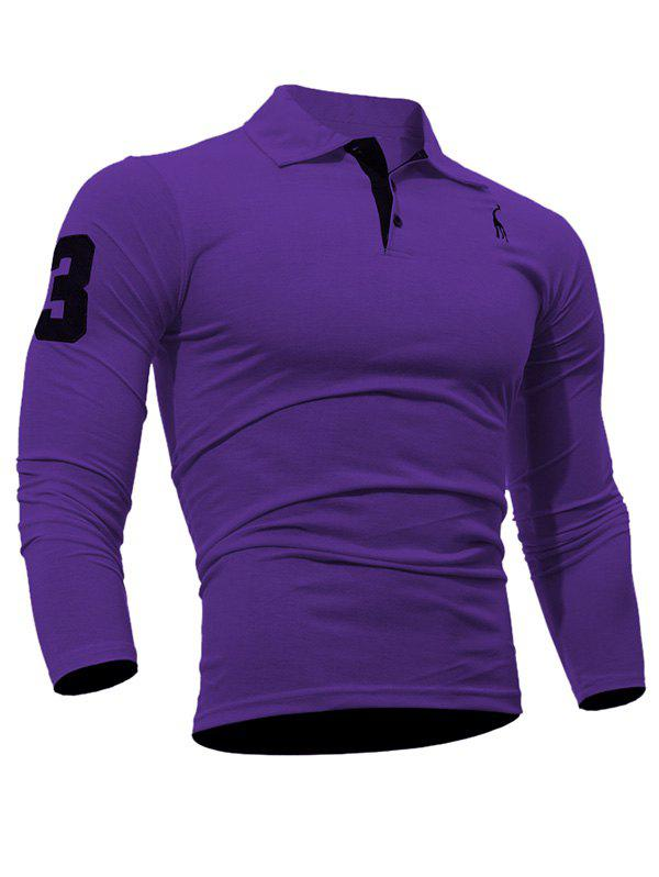 Long Sleeve Buttoned Number Patch T-Shirt