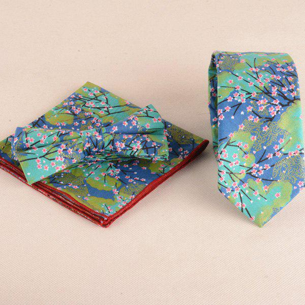 Floral Painting Print Tie Bowtie and Handkerchief - GREEN