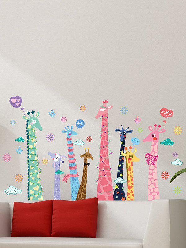 Colorful Cartoon Giraffe Kids Room Removable Wall Stickers removable colorful christmas penguins children s room wall stickers