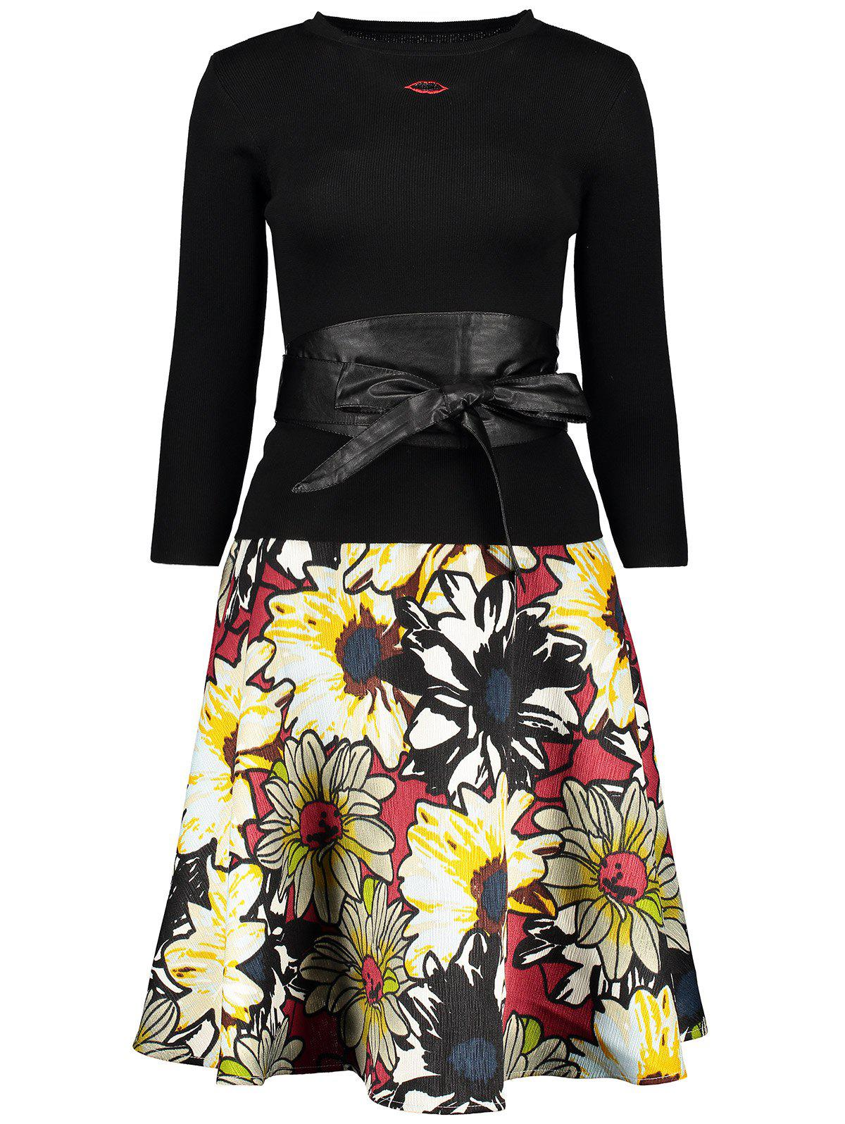 Lip Graphic Sweater and Floral Skirt Twinset - BLACK M