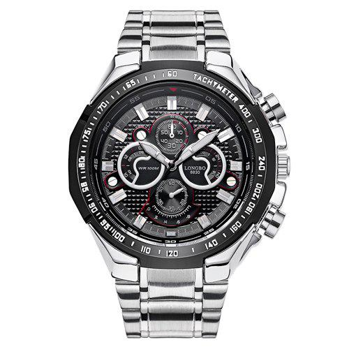 Stainless Steel Waterproof Tachymeter Analog Watch - BLACK