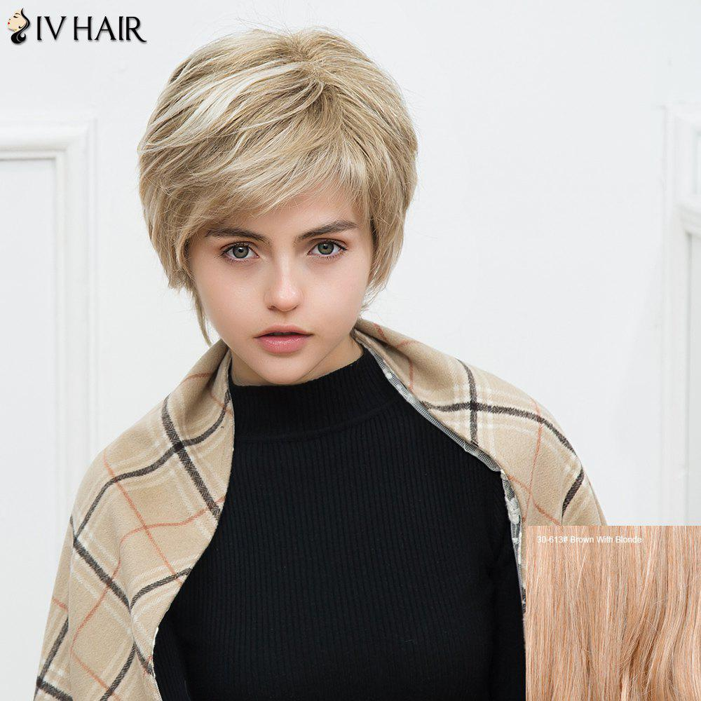 Siv Layered Short Inclined Bang Silky Straight Human Hair WigHair<br><br><br>Color: BROWN WITH BLONDE