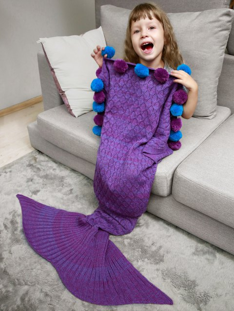 Openwork Pineapple Crochet Pom Ball Mermaid Blanket Throw For Kids - PURPLE
