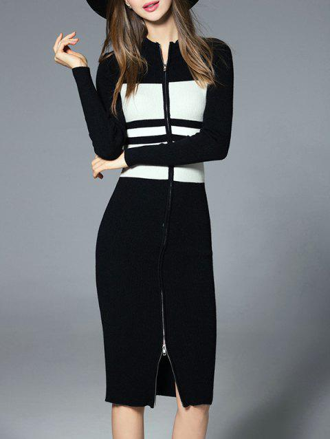 df43ea1f7e5 LIMITED OFFER  2019 Contrast Striped Zip Up Sweater Dress In BLACK ...
