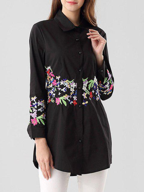 Slim Floral Embroidered Long Shirt - BLACK XL
