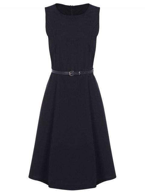 Jewel Neck Vintage Dress with Belt - BLACK 2XL