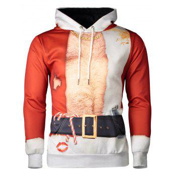 Father Christmas Costume Lip Print Long Sleeve Hoodie