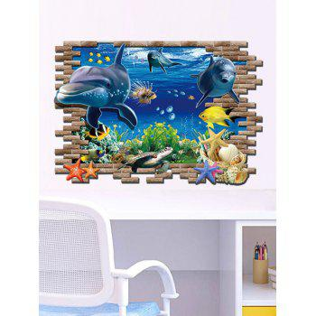3D Sea World Living Room Removable Wall Stickers