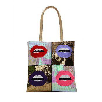 Stylish Sequins and Lip Pattern Design Shoulder Bag For Women