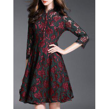 Vintage Flower Buttons Lace Party Dress