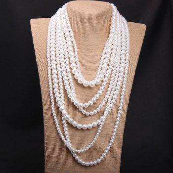 Faux Pearl Layered Sweater Chain - WHITE WHITE
