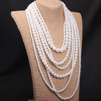 Faux Pearl Layered Sweater Chain - WHITE