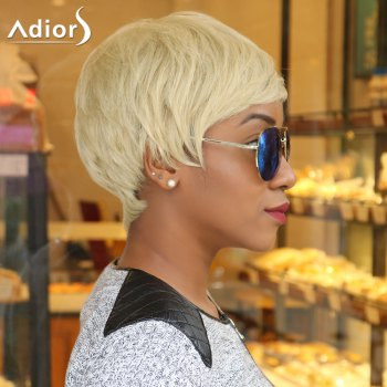 Sparkle Light Blonde Mixed Flaxen Short Capless Straight Synthetic Wig -  COLORMIX