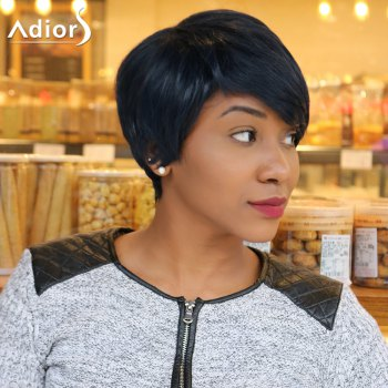 Straight Short Pixie Cut Capless Inclined Bang Heat Resistant Fiber Wig - PURPLISH BLUE