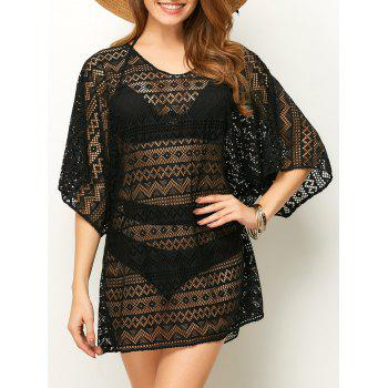 Pullover Hollow Out Mesh Beach Cover-Up