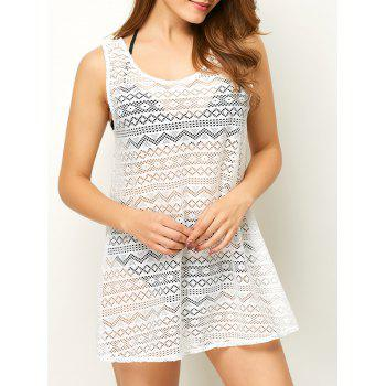 Geometric See Through Mesh Swimsuit Beach Cover-Up