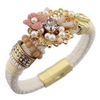 Flower Faux Pearl Leather Bracelet