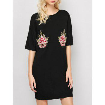 Embroidered Casual Shift Summer T-Shirt Dress