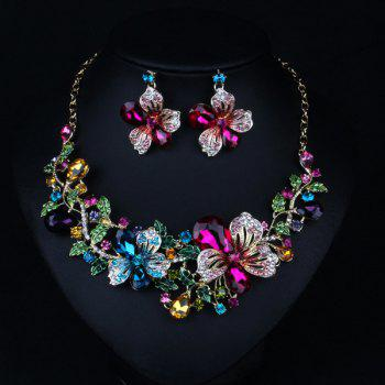 Faux Crystal Flower Necklace and Earrings